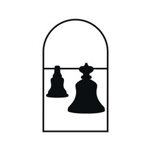 Church Bells Logo Icon Sign Orthodox Christian Church Window Symbol Easter Holiday Concept Hand Drawn Canonical Style Fashion Print Clothes Apparel Greeting Invitation Card Cover Flyer Poster Banner