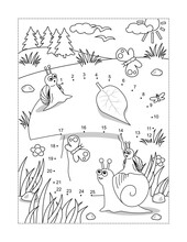 Snails And Mushroom Full Page Connect The Dots Puzzle And Coloring Page, Activity Sheet For Kids