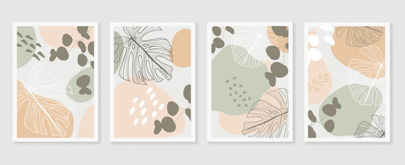 Botanical wall art background vector set.Earth tone natural colors foliage line art boho plants drawing with abstract shape. Mid century modern design for prints, poster, cover and wallpaper.