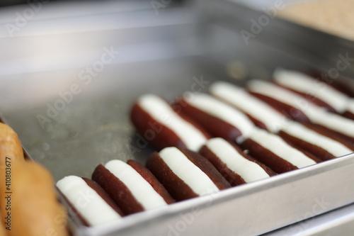Fototapeta Close-up Of Chocolate Cake For Sale