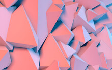 Abstract Background With 3D Shapes Flying In Pink And Blue Light As A Messy Array Or Chaotic Structure For Any Pastel Backdrop. 3D Illustration