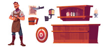 Bartender And Old Tavern Interior With Wooden Bar Counter, Shelf With Bottles, Lantern And Beer Mug. Vector Cartoon Man Waiter In Vintage Saloon, Darts Target And Paper Pinned By Knife
