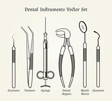 Vintage Dentist Tools. Medical Equipment In Retro Style