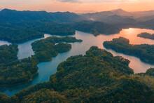 Aerial View Of Honghua Lake Scenic Spot In Huizhou City, Guangdong Province, China