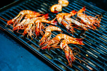 Shrimp  On The BBQ Grill Closeup