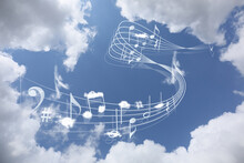 View Of Beautiful Sky With Clouds And Flying Music Notes