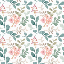 Seamless Pattern Of Green And Gray Leaves With Watercolor