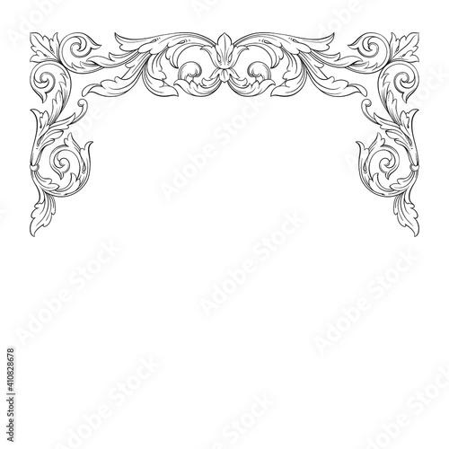 Fotografija Vintage Baroque Victorian frame border floral ornament leaf scroll engraved retr