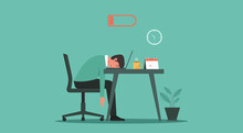 Professional Burnout Syndrome Concept. Tired Or Exhausted Man With Low Energy Battery Sitting At The Office And Working On Laptop Computer In Workplace, Vector Flat Illustration