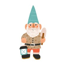 Cute And Funny Garden Gnome Or Dwarf Holding Lantern And Trowel. Hand-drawn Fairytale Character With Curly Beard And Moustache. Colored Flat Cartoon Vector Illustration Isolated On White Background