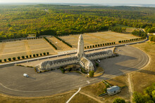 Verdun, France - 16 September 2020: Aerial View Of The Beautiful And Majestic Douaumont Ossuary Cemetery In Northern Region Of Lorraine, France