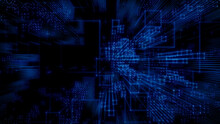 Futuristic, Blue Digital Grid Background. Network Tech Wallpaper. 3D Render