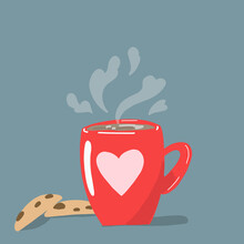 Vector Cozy Illustration With Hot Warming Coffee.