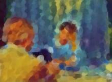 Sfondo Digitale Con Disegno Di Medico E Paziente Stilizzati Tecnica Pallini Impressionismo Con Copy Space