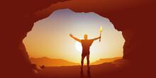 Concept De L'origine De L'humanité Et De L'invention Du Feu, Avec Un Homme Préhistorique Qui Brandit Une Torche Allumée à L'entrée De Sa Grotte, En Regardant Le Soleil.