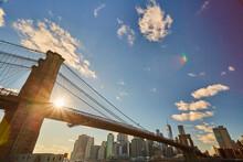 View Of New York Bridge With Sunlight