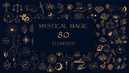 Witch Magic, Mystical and Astrology objects symbols. Doodle esoteric, boho mystical hand drawn elements. Magic and witchcraft, witch esoteric alchemy. Tattoo alchemy and esoteric. Minimalistic objects
