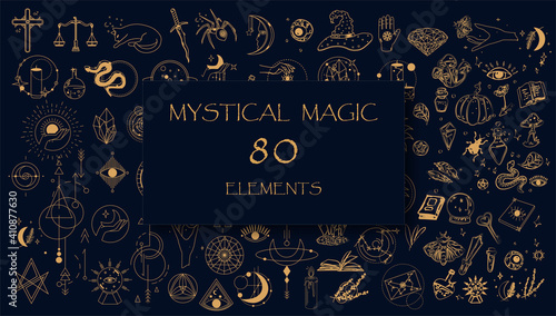 Obraz na płótnie Witch Magic, Mystical and Astrology objects symbols