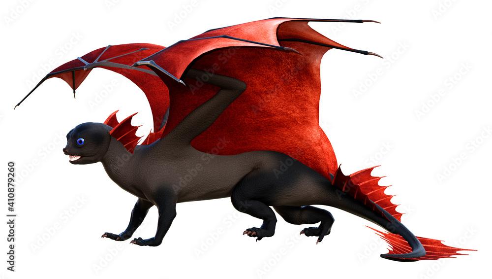 Fototapeta 3D Rendering Fairy Tale Dragon on White