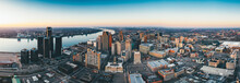 Detroit City Panorama With Windsor Canada