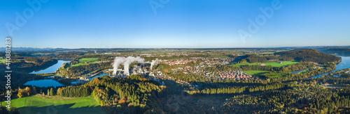 Leinwand Poster Herbstlicher Morgen am Lech nahe Schongau in Oberbayern