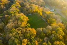 Aerial View Of A Football Field In Tervuren, Belgium.