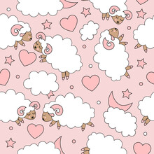 Seamless Pattern With Cute Pink Sheeps And Rams