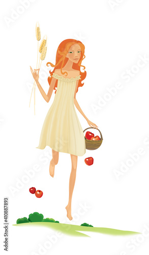 Fotografija Blonde villager with a basket of apples and ears of wheat in her hands