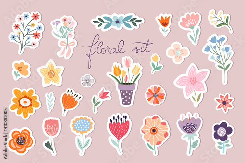Springtime stickers, magnets collection with decorative floral design - fototapety na wymiar