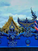 Front View Of Blue Temple (Wat Rong Suea Ten) Travel Destination In Chiang Rai, Thailand