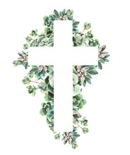 Watercolor Illustration.    Christian Cross Made Of Green Leaves, Succulents.  Design For Easter, Baptism, Christening, Cards, Paper, Invitations, Scrapbooking, Textiles, Wrapping