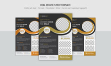 Real Estate Flyer Design Template, Grey, Dark And White Colour Variation