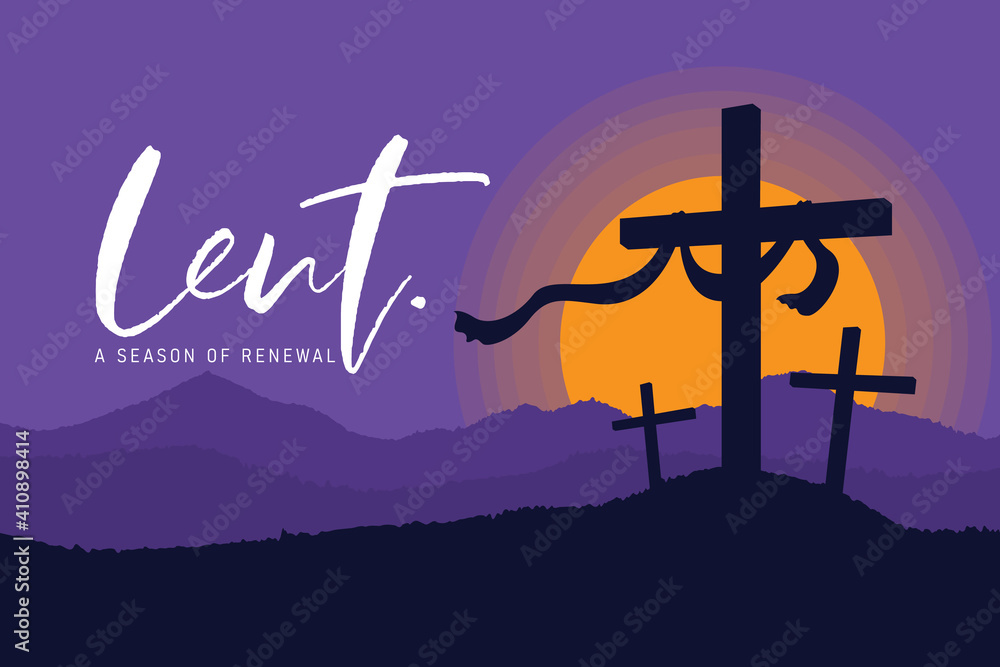 Fototapeta Lent, a season of renewal banner with crucifix on the hill in sunset and purple sky vector design