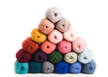 The Multicolored Cotton Threads Are Folded In The Form Of Biramide