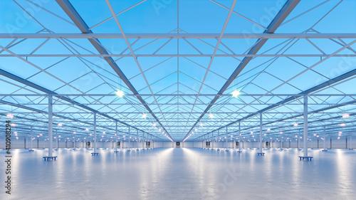 Photo Big industrial greenhouse interior