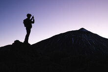 Tourist Taking Picture Of Mount Teide