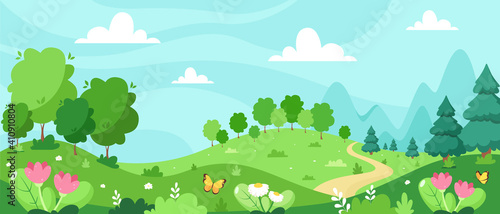 Spring landscape with trees, mountains, fields, leaves Fototapeta