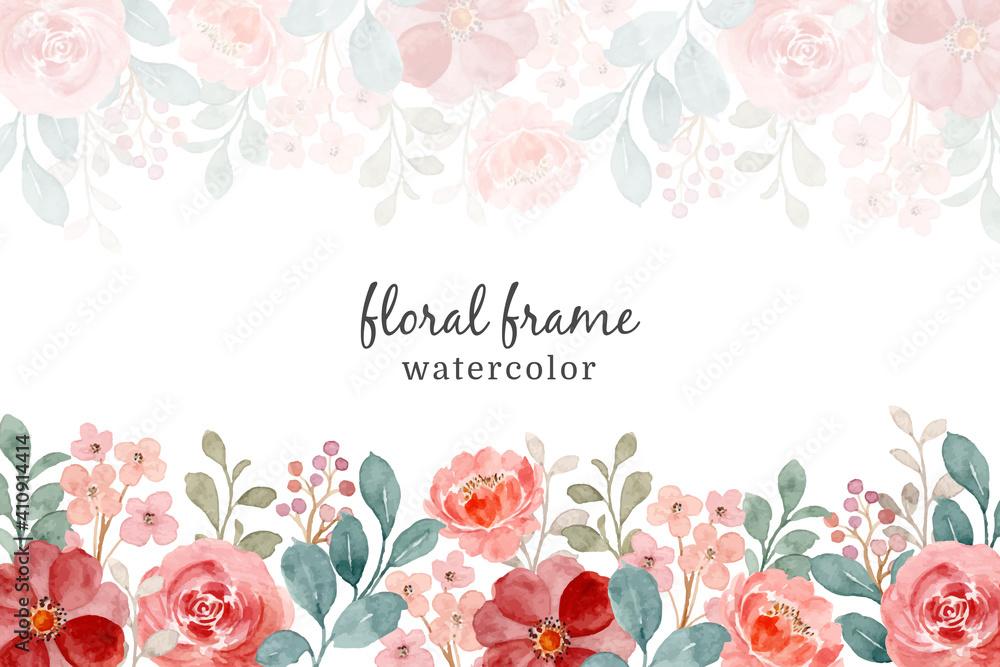 Fototapeta Wild rose watercolor frame. flower background, abstract flower background