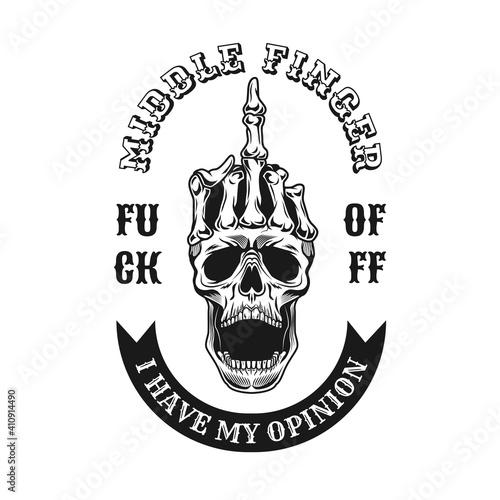 Fotografering Vintage middle finger on skull emblem