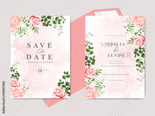 Obraz beautiful floral hand drawn wedding invitation cards - fototapety do salonu