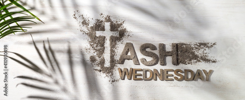 Fotografija Ash wednesday, crucifix made of ash, dust as christian religion