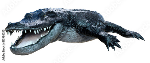 Fotografiet 3D Rendering Black Alligator on White