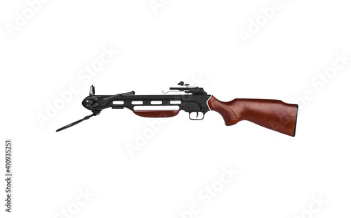 Modern crossbow with a wooden stock isolate on a white back Fototapet