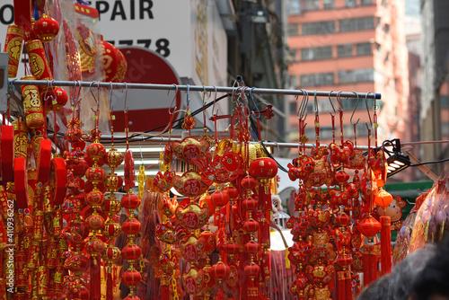 Tablou Canvas Decorations, handicrafts at Wanchai Market, Hong Kong, prior to Chinese Lunar Ne