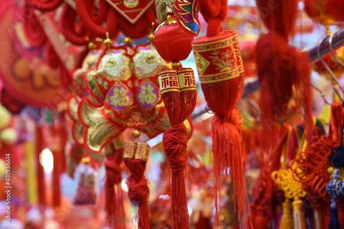 Canvas Print Decorations, handicrafts at Wanchai Market, Hong Kong, prior to Chinese Lunar Ne