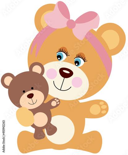 Baby girl teddy bear playing with teddy  #410942263