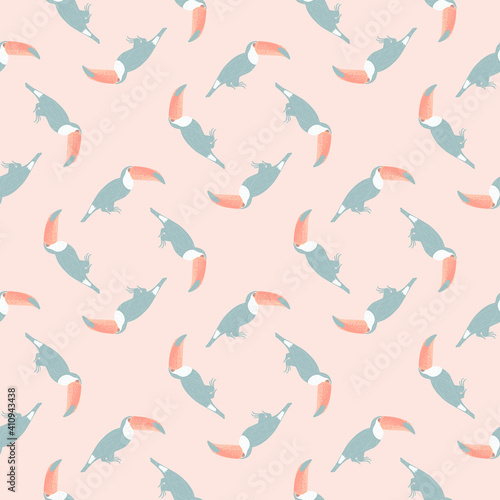 Exotic animal seamless pattern with blue colored toucan birds shapes Fototapeta