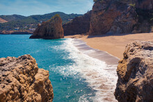 View Of Moreta Beach With Red Island In The Background, Costa Brava, Catalonia, Spain