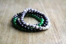 Close Up Of Bead Bracelets Gemstones Bohemian