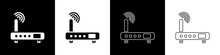 Set Router And Wi-fi Signal Icon Isolated On Black And White Background. Wireless Ethernet Modem Router. Computer Technology Internet. Vector Illustration.